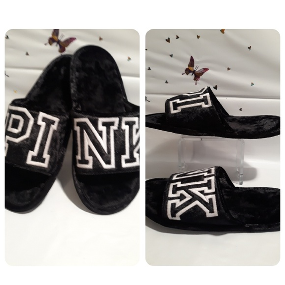 37659674ba310 Victoria Secrect Black Velvet Slippers By Pink NWT